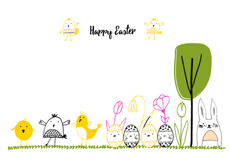 greeting season: Cute card with hand drawn easter illustrations