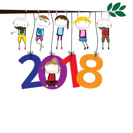 Tarjeta colorida para el Año Nuevo 2018 con los niños felices