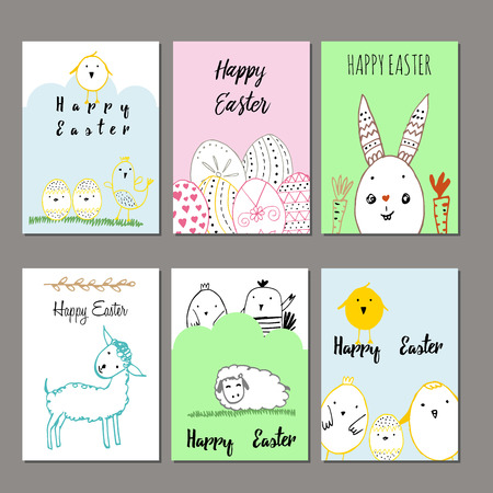 funny: Cute cards with hand drawn easter illustrations