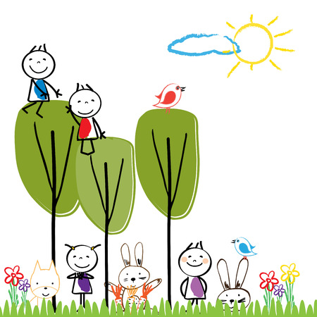 small children: Small and happy children are playing outside. Illustration