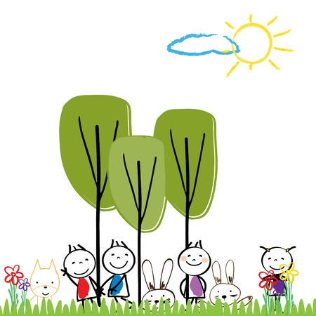 nice girls: Small and happy children are playing outside. Illustration