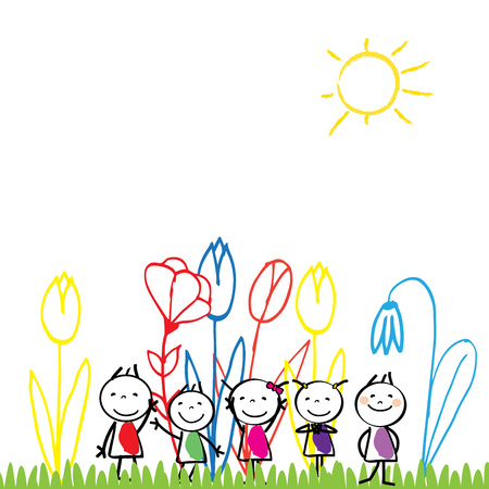 Small and happy children are playing outside. Illustration
