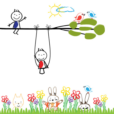 girl illustration: Small and happy children are playing outside. Illustration