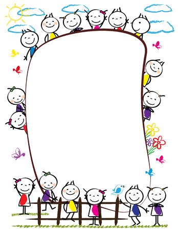 Frame met gelukkige en kleurrijke kinderen - jongens en meiden Stock Illustratie