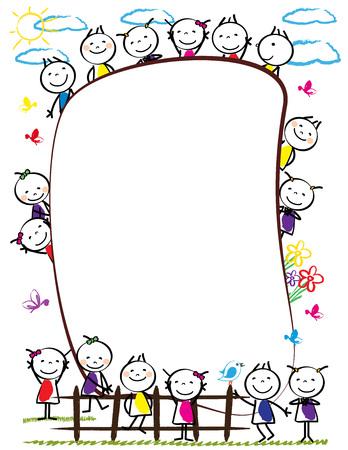 Frame with happy and colorful kids - boys and girls