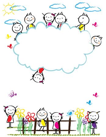 Rahmen mit glücklichen und bunten Kindern - Jungen und Mädchen