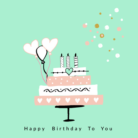 postcard: Happy Birthday card. Vector hand drawn illustration. Illustration