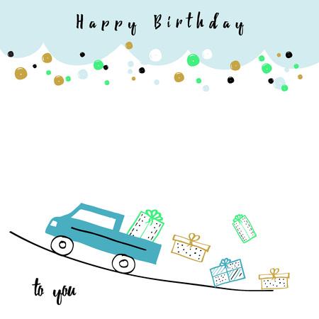 少し手描かれた誕生日カード、大きな男の子です。  イラスト・ベクター素材