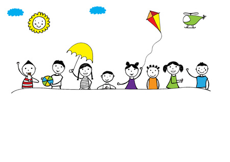 painting: Happy girls and boys with border. Hand drawn illustration