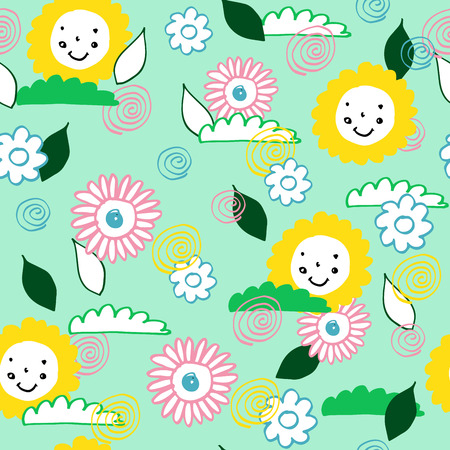 flower layout: Pattern with flowers and suns perfect for baby and all kids. Illustration