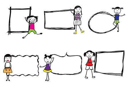 funny: Colorful and appy girls. Hand drawn illustration Illustration