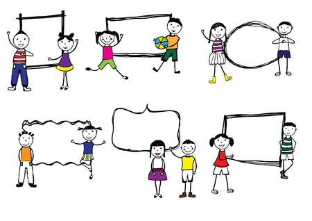 preschool child: Happy girls and boys with frames, hand drawn illustration.