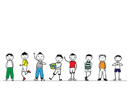 preschool child: Happy boys hand drawn illustration.