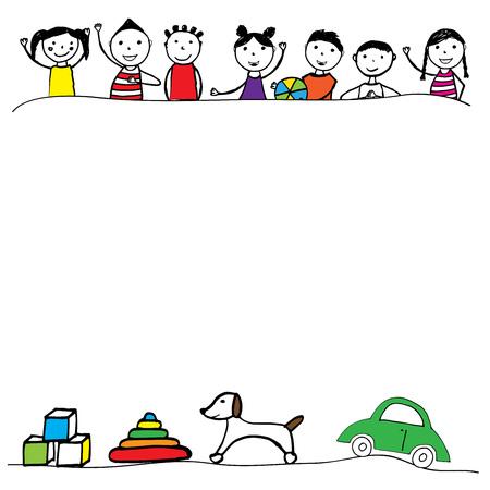 dog: Happy girls and boys with border. Hand drawn illustration