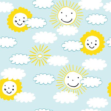雲と太陽の赤ちゃんとすべての子供のための完璧なをパターンします。