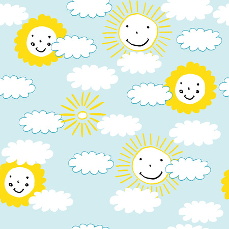 baby: Clouds and suns pattern perfect for baby and all kids. Illustration