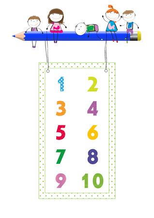 numbers background: Happy boys and girls with colorful numbers and crayon Illustration
