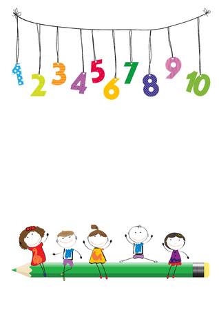 Happy boys and girls with colorful numbers and crayon Иллюстрация