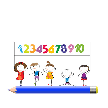 girl: Happy boys and girls with colorful numbers and crayon Illustration
