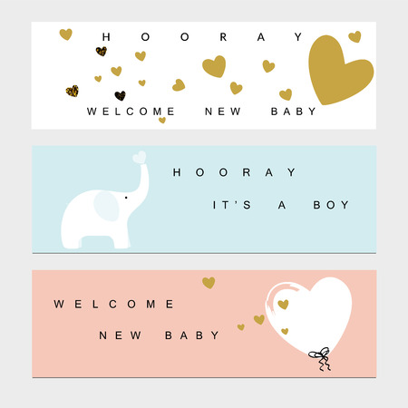 cute animal cartoon: Baby shower banners for the baby boy and girl Illustration