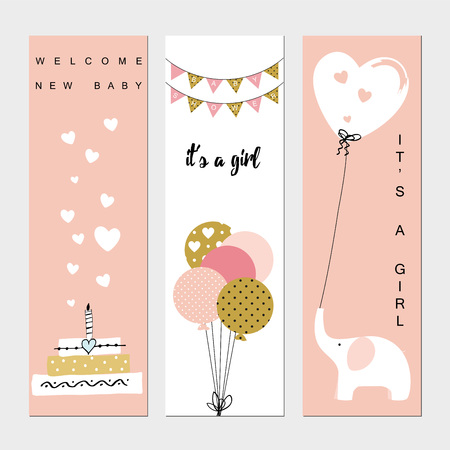 festive background: Baby shower banners for the baby girl