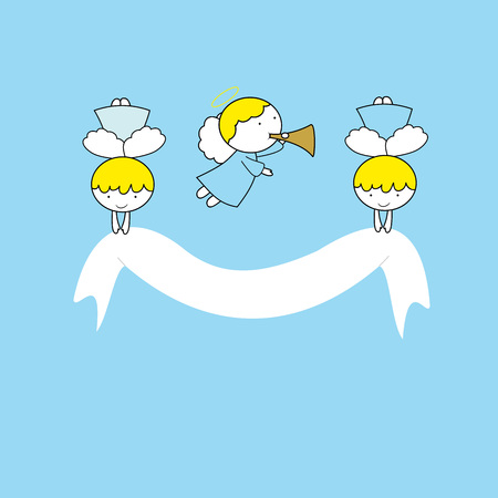 Lovely small angels on blue background
