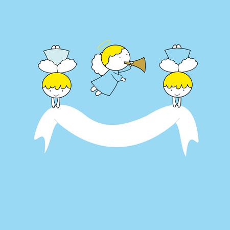 Piccoli angeli belli su sfondo blu Vettoriali