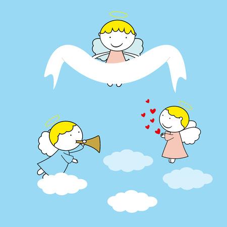 青の背景に素敵な小さな天使  イラスト・ベクター素材