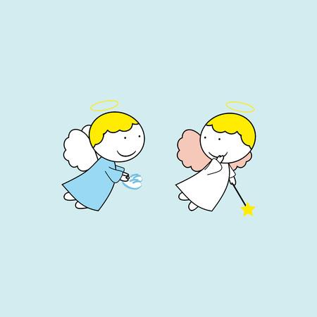 파란색 배경에 사랑스러운 작은 천사 일러스트