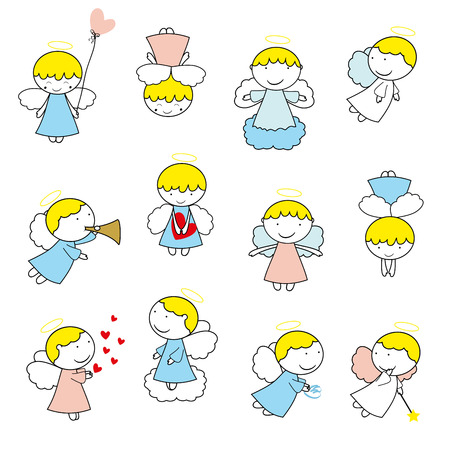 baby: Lovely small angels on white background Illustration