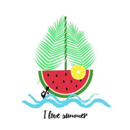 watermelon boat: Summer fresh card, graphic and we design