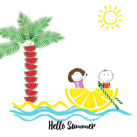 watermelon boat: Happy and healthy kids on a boat with fresh fruit Illustration