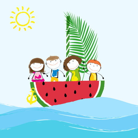 holiday party: Happy and healthy kids on a boat with fresh fruit Illustration