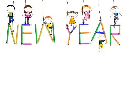 Tarjeta colorida para el Año Nuevo 2018 con los niños felices Ilustración de vector