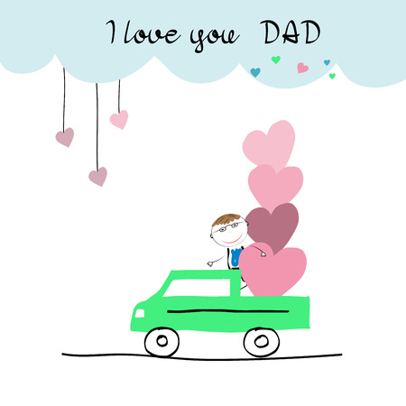 affectionate: Colorful and sweet card for Fathers Day. Childrens drawing