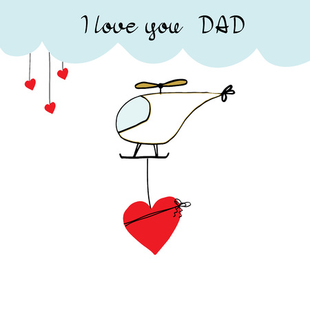 girl: Colorful and sweet card for Fathers Day. Childrens drawing