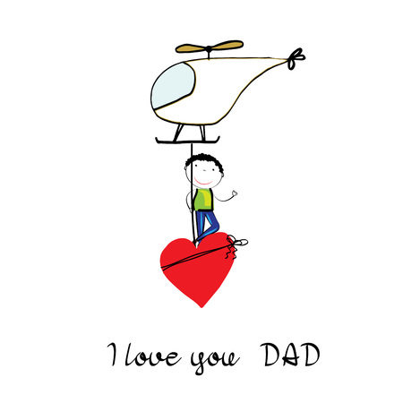 Colorful and sweet card for Fathers Day. Childrens drawing