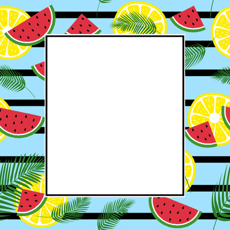 Summer exotic frame with fresh watermelons