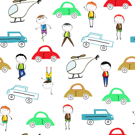 Seamless pattern with colorful cars and helicopters Illustration