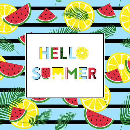Summer graphics with fresh fruits and text