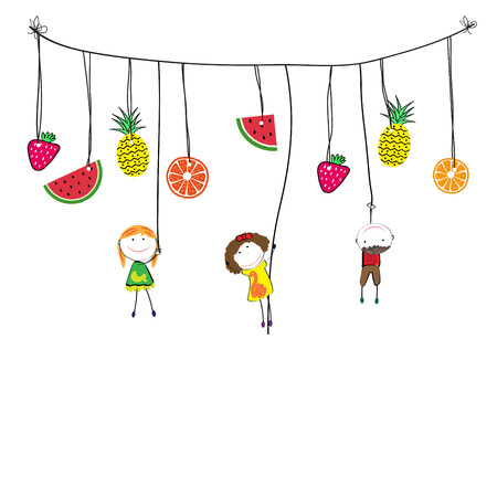 hand: Happy and healthy kids with a fresh lemon Illustration
