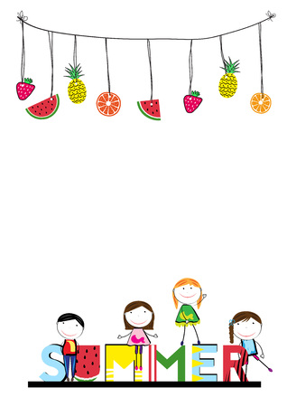 Happy and healthy kids with a fresh lemon Illustration