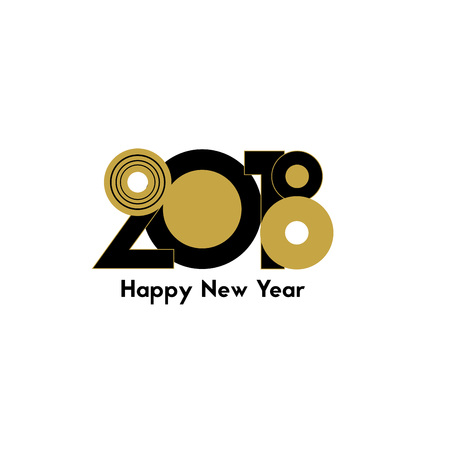 happy: Happy New Year 2018, background element of a holidays card