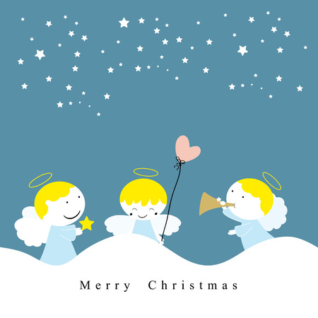 christmas gifts: Cute christmas card with sweet small angels Illustration