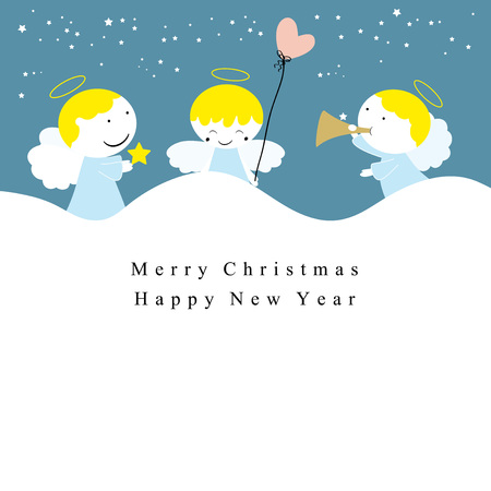 Cute christmas card with sweet small angels Illustration