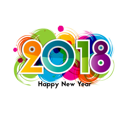 mobile: Happy New Year 2018, background or element of a holidays card