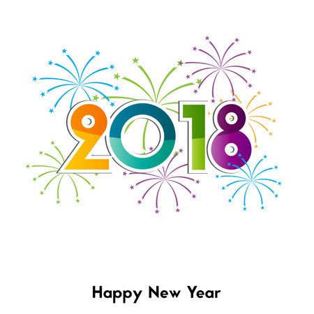 Happy New Year 2018, background or element of a holidays card. Colorful fireworks Illustration