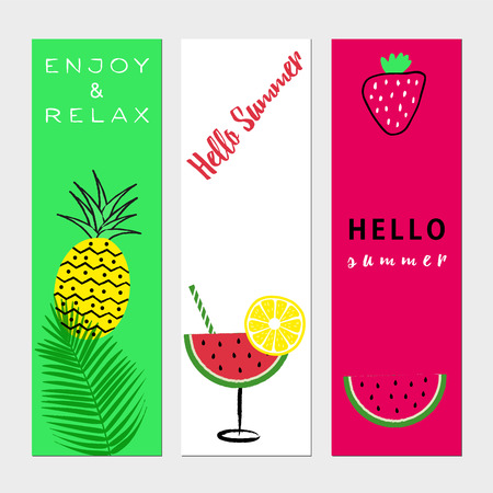 Summer banners with fresh fruits and text.