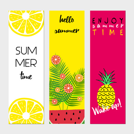 Summer banners with fresh fruits and text
