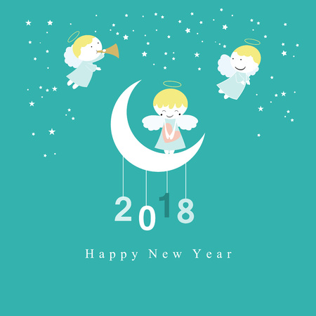 Cute New Year card with sweet small angels